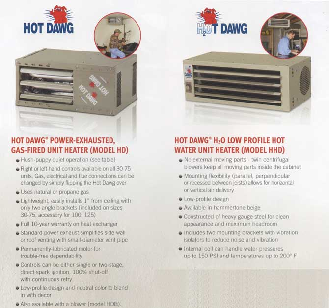 Reznor Garage Heater >> WJ Barnes Ltd., Sarnia, Ontario - Hot Dawg Garage Heaters